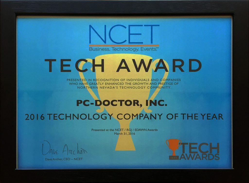 2016 NCET Tech Award Certificate